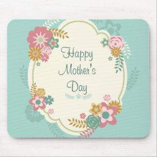 Happy Mother's Day Floral Frame Mouse Pad