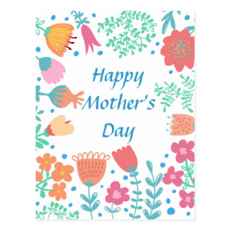 Happy Mother's Day Floral Frame Postcard