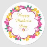 Happy Mother's Day Floral Frame Round Sticker