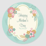 Happy Mother's Day Floral Frame Round Stickers
