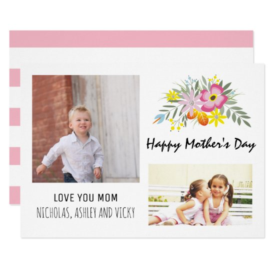 Happy Mother's Day floral pink modern photo Card