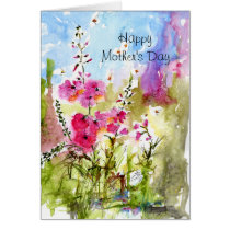 mothers day, holidays, mother, family, pink, flowers, greeting cards, watercolors, original art, botanical, summer, floral, ginette, fine art, Card with custom graphic design
