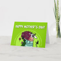 Happy Mother's Day - flower cow Card
