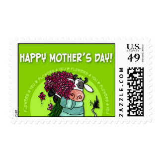 Happy Mother's Day - flower cow postage