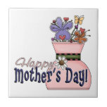 Happy Mother's Day Flowers Ceramic Tile