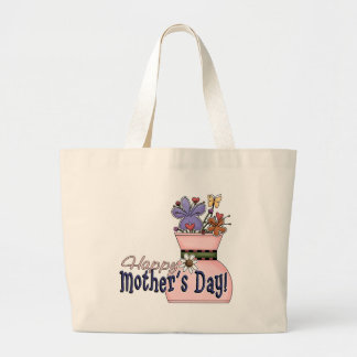 Happy Mother's Day Flowers Large Tote Bag