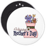 Happy Mother's Day Flowers Pinback Buttons