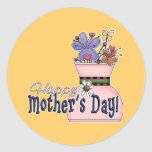 Happy Mother's Day Flowers Round Stickers
