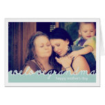 Happy Mothers Day for Grandmother Photo Blue White Greeting Card