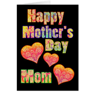 Happy Mother's Day for Mom & Colorful Retro Hearts Greeting Cards