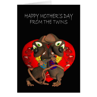 Happy Mother's Day from the Twins, Twin mice hug Card