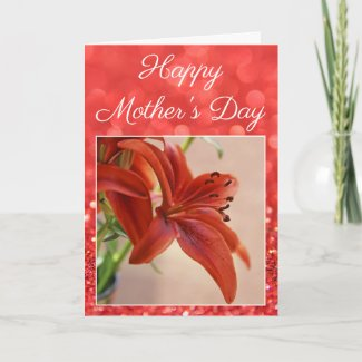 mother's day, mother, holiday, greeting card, floral, tiger lily, card