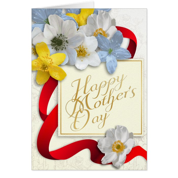 Happy Mother's Day - Gold, Almond, Deep Red 2 Card