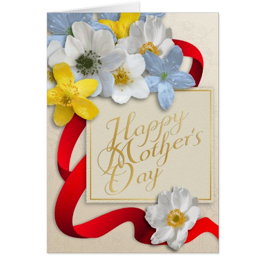 Happy Mother's Day - Gold, Almond, Deep Red Card