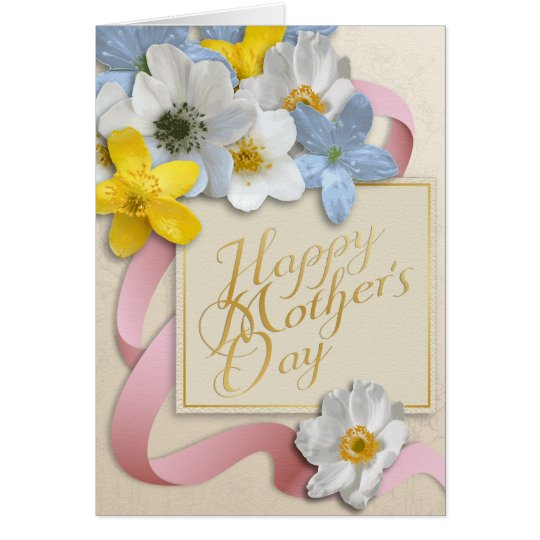 Happy Mother's Day - Gold, Almond, Pink Card