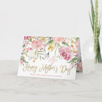 Happy Mother's Day | Gold and Blush Pink Flowers Card