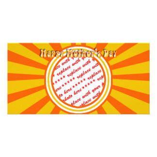 Happy Mother's Day - Gold/Orange Retro Photo Frame Personalized Photo Card