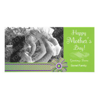 Happy Mother's Day Green & Purple Photo Card