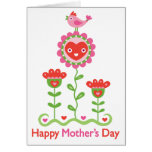 Happy Mothers Day - Happy flower, bird, & hearts Greeting Card