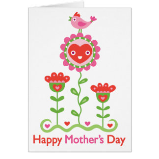 Happy Mothers Day - Happy flower, bird, & hearts Cards