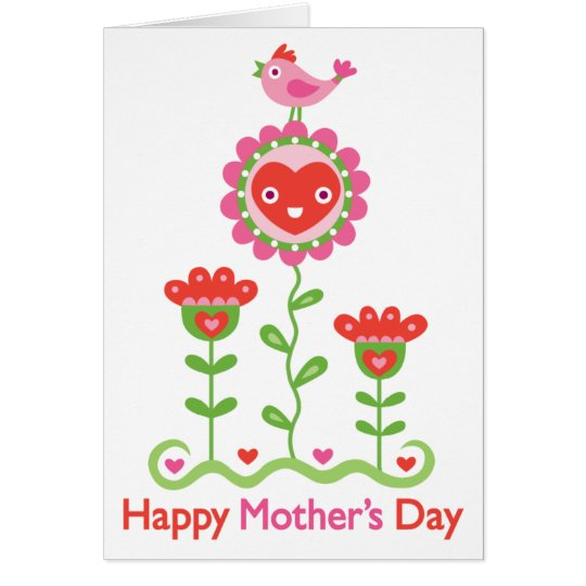 Happy Mothers Day - Happy flower, bird, & hearts Card