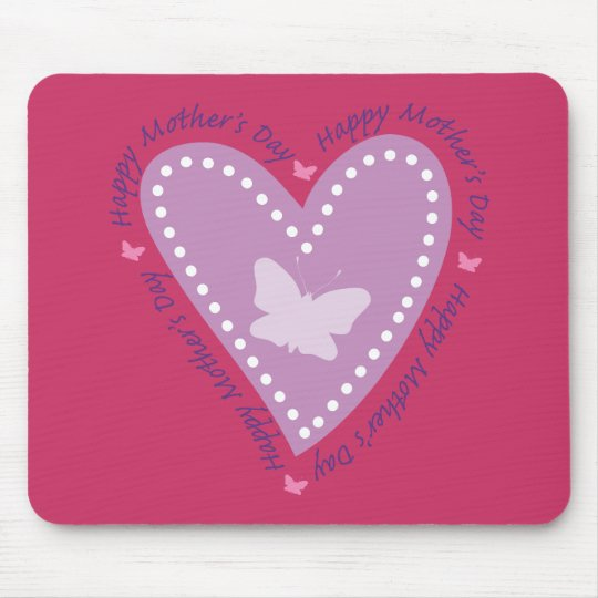 Happy Mothers Day Heart & Butterfly Mouse Pad