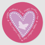 Happy Mothers Day Heart & Butterfly Stickers