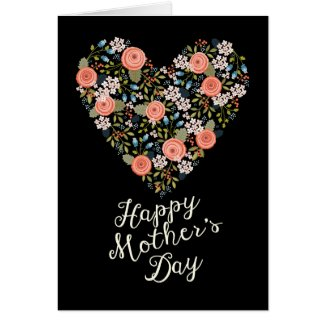 Happy Mother's Day Heart of Love Floral Card