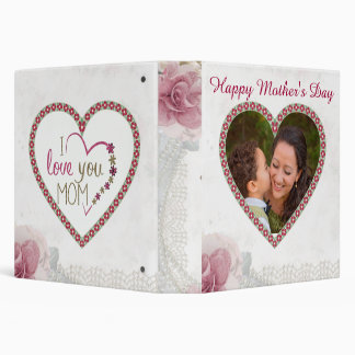 Happy Mother's Day Heart Personalized 3 Ring Binder