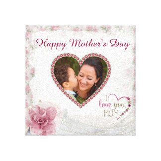 Happy Mother's Day Heart Personalized Canvas Print