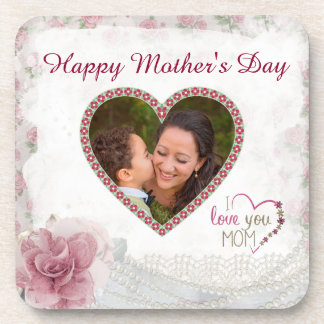 Happy Mother's Day Heart Personalized Coaster