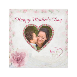 Happy Mother's Day Heart Personalized Metal Print