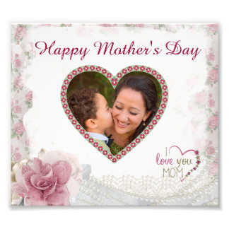 Happy Mother's Day Heart Personalized Photo Print