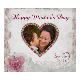 Happy Mother's Day Heart Personalized Poster