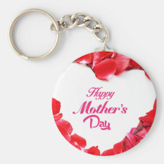 Happy Mother's Day - Heart Shaped Rose Petals Keychain