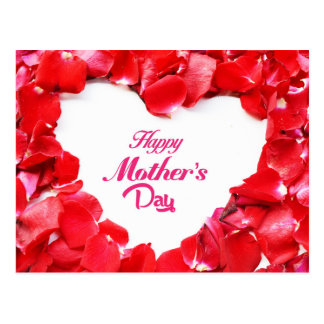 Happy Mother's Day - Heart Shaped Rose Petals Postcard