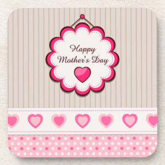 Happy Mother's Day Hearts Drink Coaster