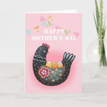 Happy Mother's Day Hen Chicken mother of three Card