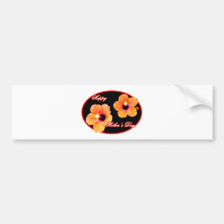 Happy Mother's Day Hibiscus Black Red Oval The MUS Bumper Sticker
