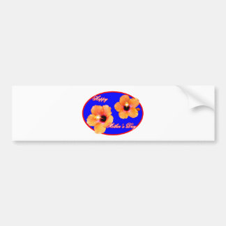 Happy Mother's Day Hibiscus Blue Red Oval The MUSE Bumper Sticker