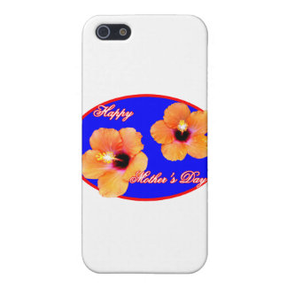 Happy Mother's Day Hibiscus Blue Red Oval The MUSE iPhone 5 Covers