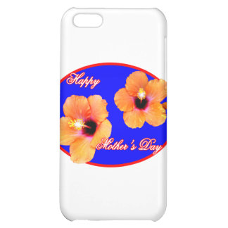 Happy Mother's Day Hibiscus Blue Red Oval The MUSE iPhone 5C Case