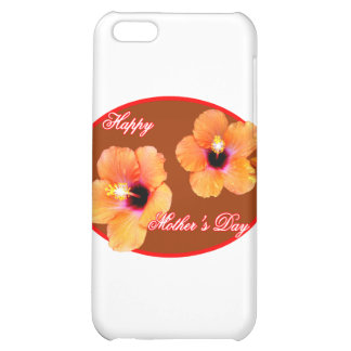 Happy Mother's Day Hibiscus Brown Red Oval The MUS iPhone 5C Cases
