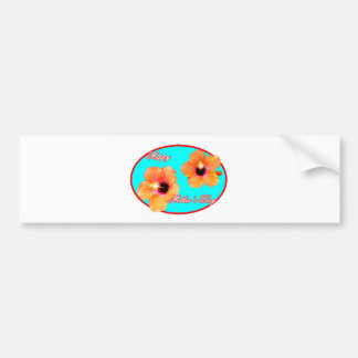 Happy Mother's Day Hibiscus Cyan Red Oval The MUSE Bumper Sticker