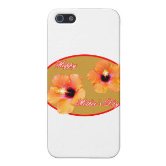 Happy Mother's Day Hibiscus Gold Red Oval The MUSE Cover For iPhone 5