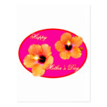 Happy Mother's Day Hibiscus Magenta Red Oval The M Postcard