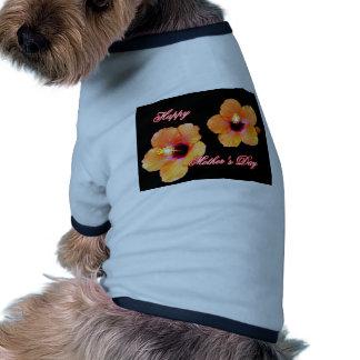 Happy Mother's Day Hibiscus Orange Black bg The MU Pet Tshirt
