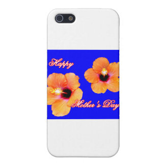 Happy Mother's Day Hibiscus Orange Blue bg The MUS iPhone 5 Cover