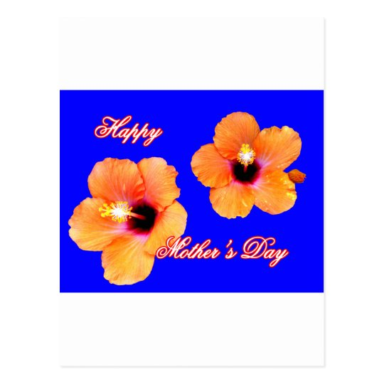Happy Mother's Day Hibiscus Orange Blue bg The MUS Postcard