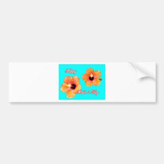 Happy Mother's Day Hibiscus Orange Cyan bg The MUS Bumper Sticker